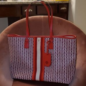 Red ♥️ Tory Burch GEMINI LINK CANVAS TOTE BAG